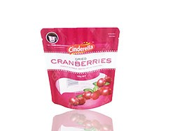 Stand up pouch with zipper for cranberries